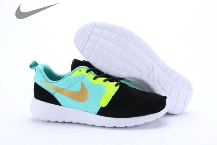 Nike Roshe Run Women Black And Blue